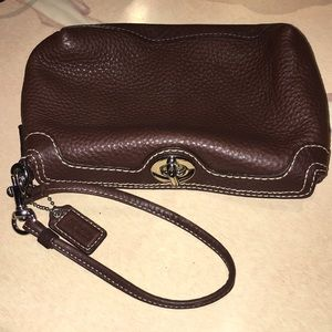 COACH chocolate brown leather wristlet